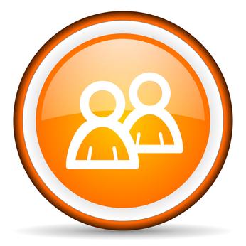 forum orange glossy circle icon on white background