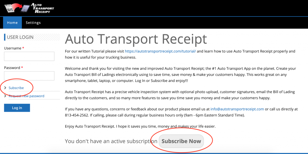 Auto Transport Receipt - Subscribe